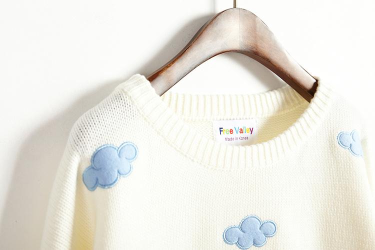 秋冬粉嫩甜美日系贴布刺绣云朵圆领针织衫