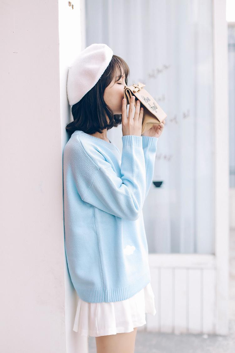 2015韩国秋冬款超粉嫩日系贴布刺绣云朵针织毛衣