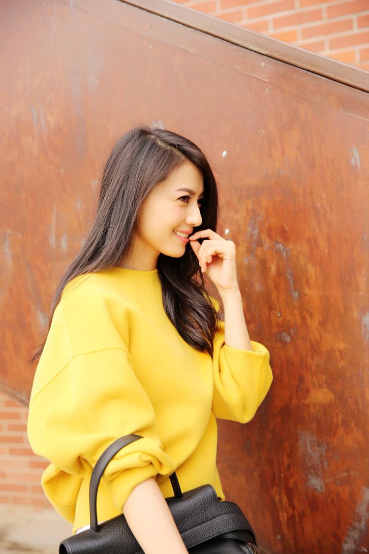 秋装高圆圆明星同款宽松黄色外套