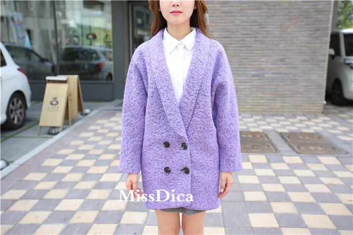 【2015新款廓形紫色羊毛呢大衣】-衣服-服饰鞋包