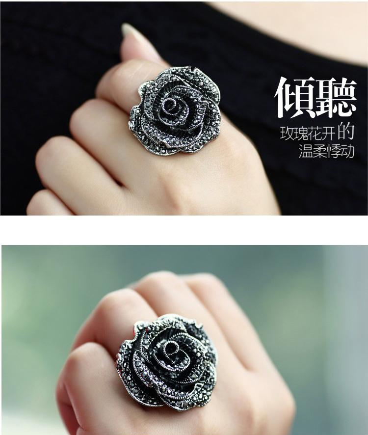 黛若欧美复古夸张黑玫瑰花朵食指环日韩锆钻时尚戒指