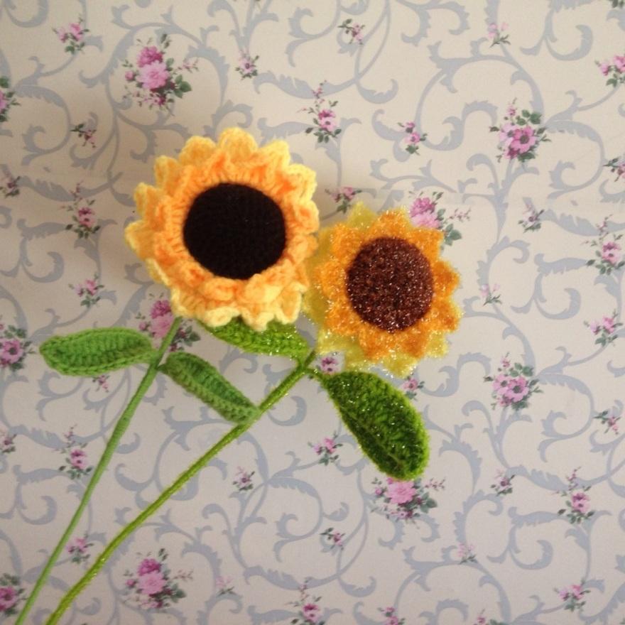 毛线钩针花向日葵钩织向日葵创意手工艺品摆件
