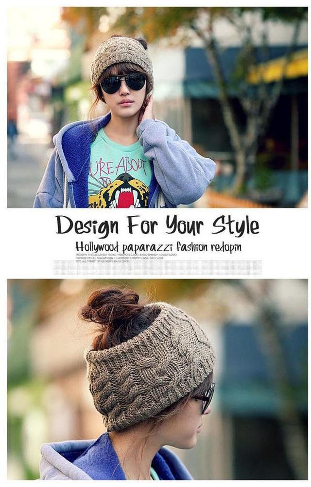 韩版女士秋冬保暖无顶麻花针织毛线帽子时尚