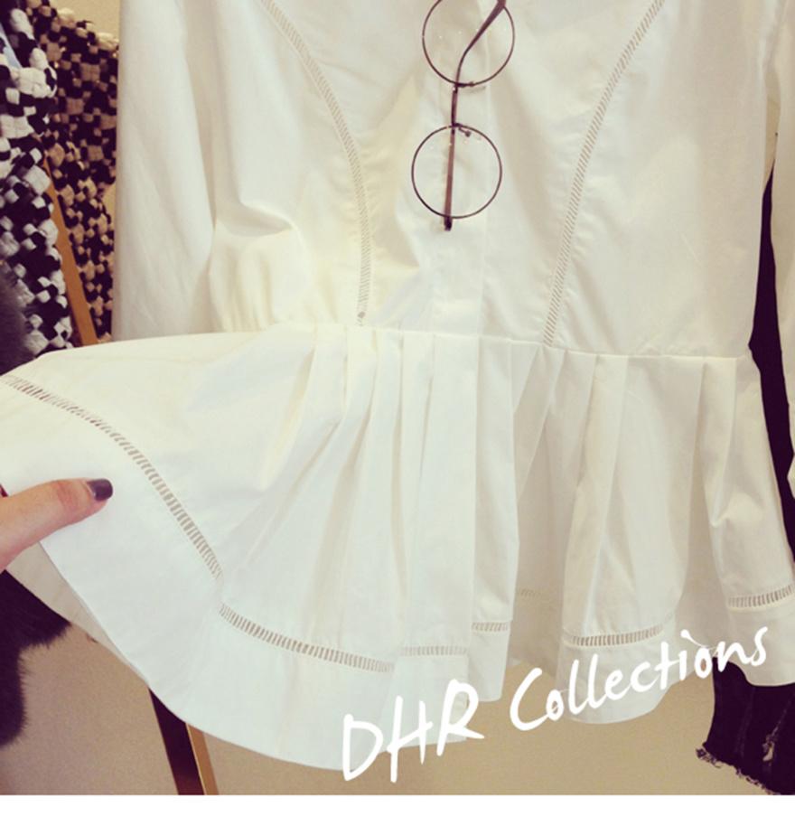 2015韩版新款 宽松白色拼接镂空蕾丝裙摆衬衫上衣