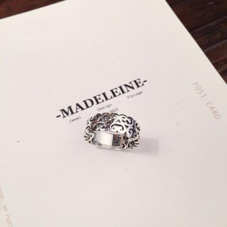 925纯银 复古镂空古藤花纹 戒指