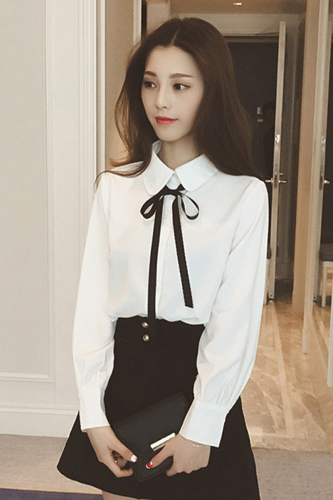【韩国东大门学院风减龄系带娃娃领衬衫】-衣服-衬衫