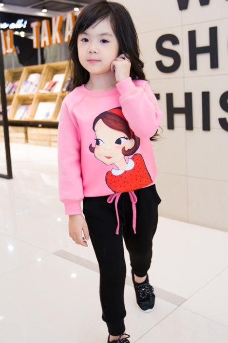 【可爱娃娃印花加绒运动休闲两件套套装】-母婴-套装