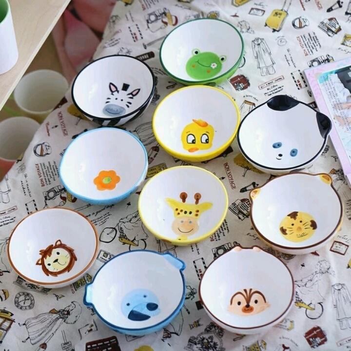 【釉下彩可爱手绘创意动物碗米饭碗甜品碗陶瓷碗餐具
