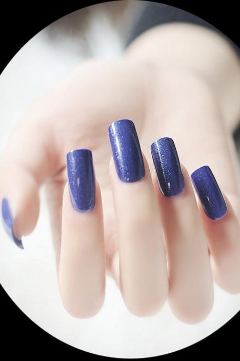假指甲,指甲贴,甲片,蓝色美甲