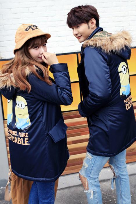 【冬季新款情侣装 韩版休闲个性卡通印花连帽