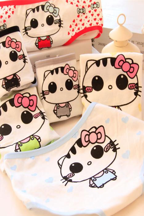 【6条装小花猫可爱纯棉印花少女低腰三角内裤】-内衣