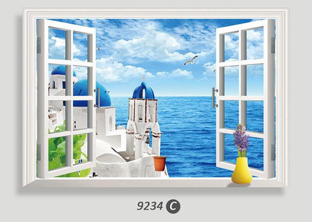 【爱饰】薰衣草花海3d假窗户风景墙贴画 环保可移墙贴