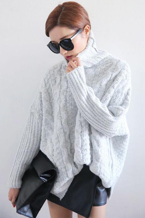 【小清新麻花纹高领针织毛衣】-衣服-其他毛衣