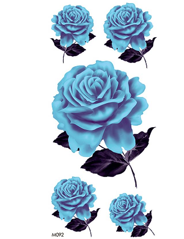 【纹身贴防水女蓝色玫瑰牡丹花胸前手臂腿部彩色玫瑰