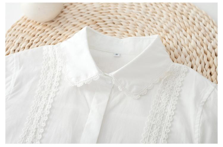 【文艺小清新花边蕾丝翻领长袖白衬衫】-衣服-衬衫
