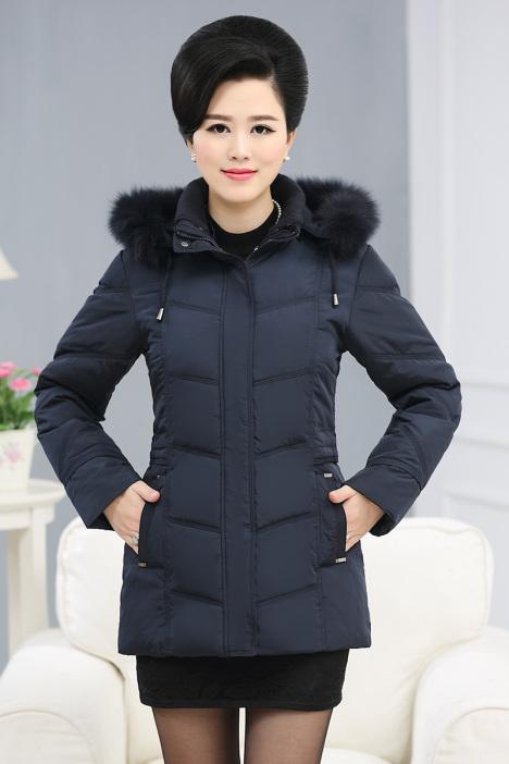 2015冬季新款中老年女装羽绒服妈妈装冬装加厚保暖羽绒棉衣女
