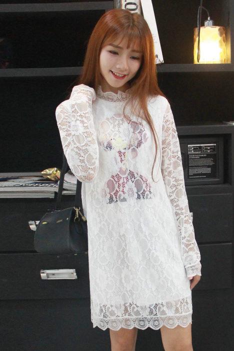【【彩色生活】可爱百搭头像蕾丝加绒打底裙长袖】