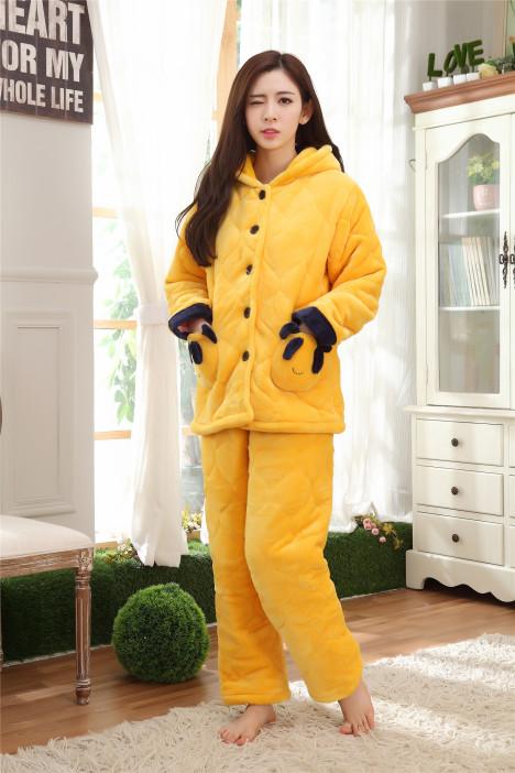 【冬季睡衣女加厚保暖法兰绒夹棉纯色可爱卡通连帽服