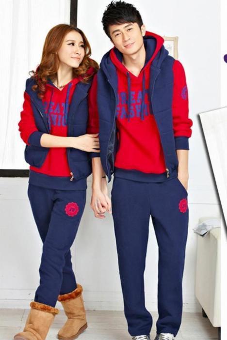 【【尚衣坊】冬季加厚情侣装卫衣三件套运动装男女款