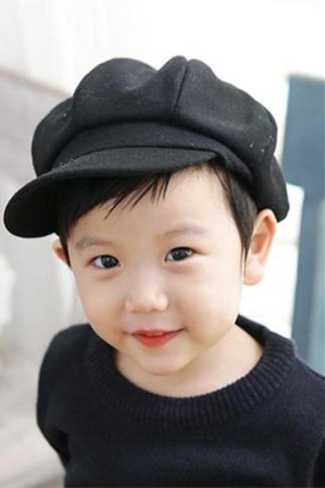 儿童帽子男女宝宝八角鸭舌帽羊毛呢小孩贝雷帽四季帽韩国