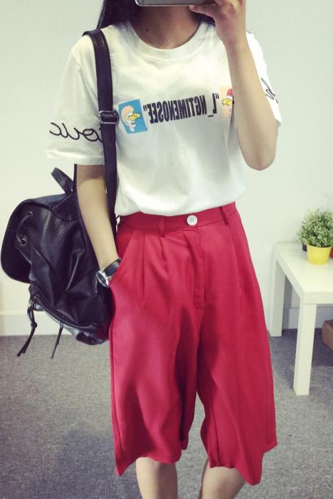 【hifan 新款原宿风刺绣字母卡通头像短袖t恤】-衣服