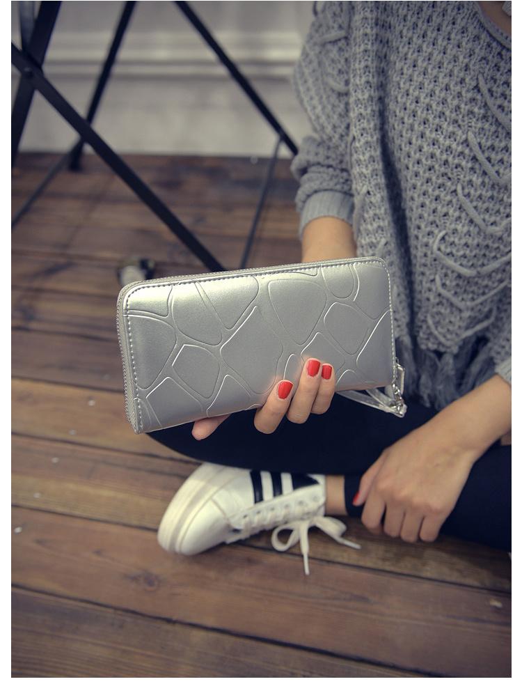 【【大懒猫】首尔街拍大石头纹长款手拿包零钱包】