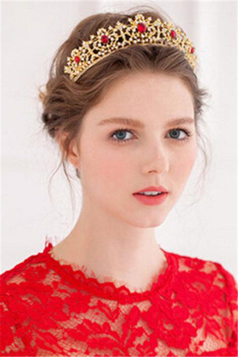 金色复古巴洛克皇冠新娘头饰欧式婚纱写真造型配饰合金镶红钻配饰