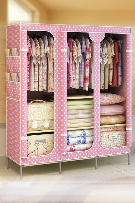 简易衣柜布衣柜包邮特价布衣柜钢管加固加厚组装衣橱