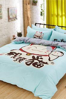 Bộ chăn gối kiểu Hàn, họa tiết hoạt hình, chất liệu bông nguyên chất, bộ bốn chiếc