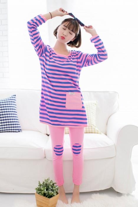 【(2色)韩版甜美少女糖果色条纹长袖睡衣】-内衣