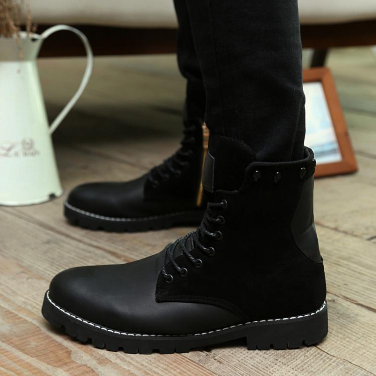 【男士冬季英伦风牛皮休闲高帮马丁靴】-男装-靴子