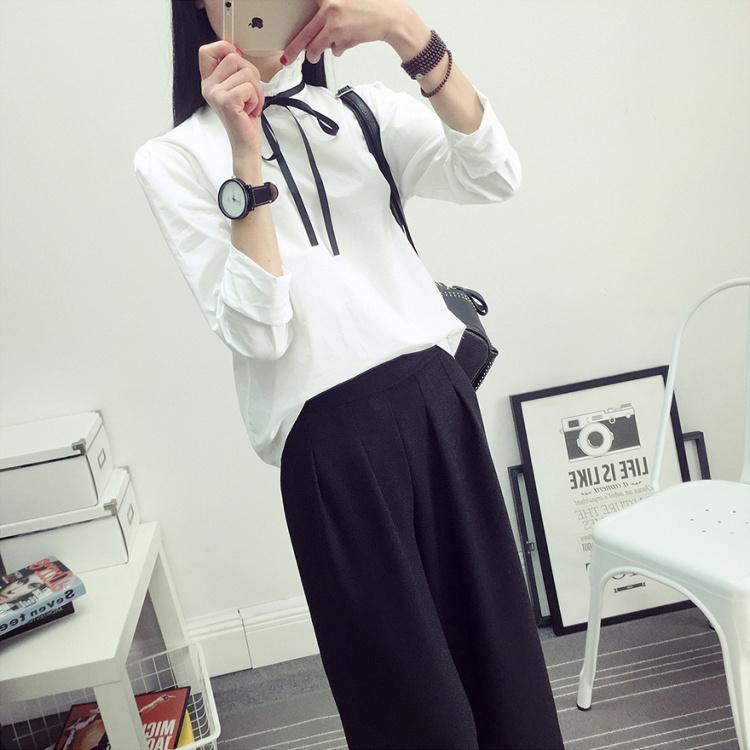 【小清新花边立领简单白衬衣】-衣服-衬衫