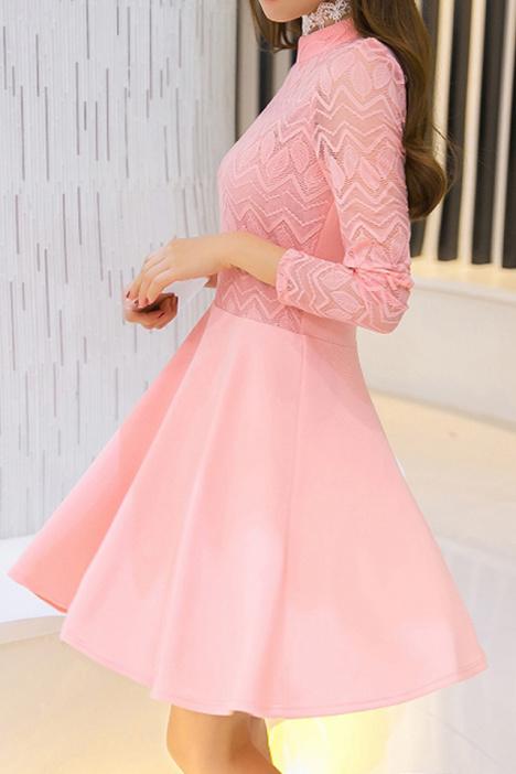 【蕾丝连衣裙长袖蓬蓬裙】-衣服-裙子