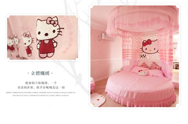 欧式卧室纯色粉色卡通窗帘 高档豪华女孩儿童窗帘定制可爱猫
