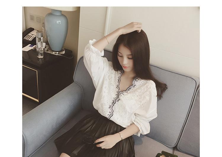【镂空花纹甜美衬衫】-衣服-服饰鞋包