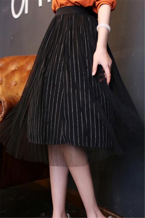 【百搭高腰竖条纹百褶黑纱半身裙】-衣服-半身裙_裙子图片