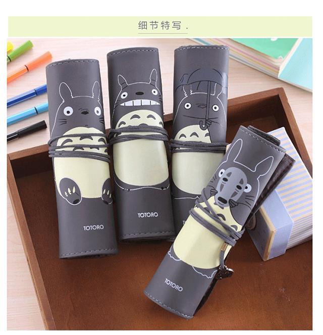 【可爱龙猫笔袋卷笔袋笔帘pu皮质文具盒】-家居-百货