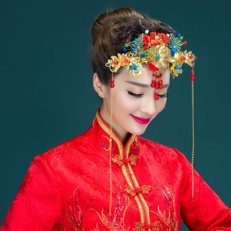 新娘古装头饰套装 中式复古礼服凤冠 红色结婚礼服龙凤褂配饰