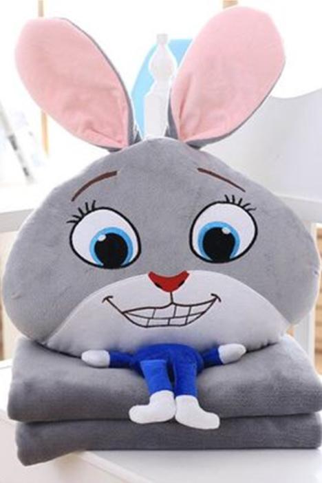 《疯狂ag游戏直营网|平台城》尼克狐狸朱迪兔子3d毛绒公仔抱枕多用毯生日礼物