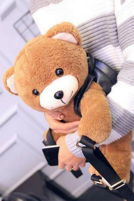 秋冬新款女士毛绒玩具背包超萌可爱小熊双肩包趴趴熊背包小熊双肩