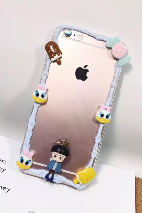 【手工奶油边框苹果6手机壳iphone6s可爱小丸子6s
