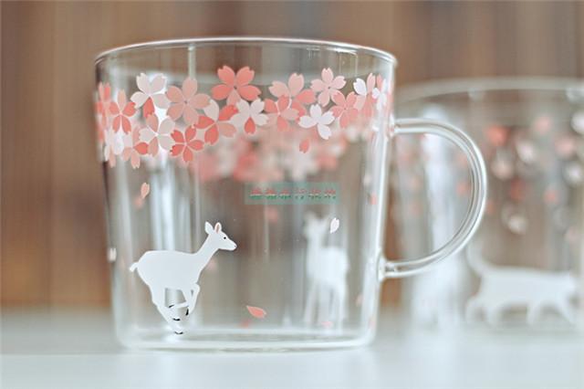 日式可爱动物樱花玻璃杯