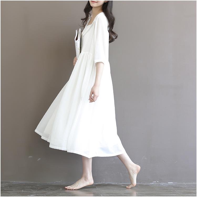 【新款复古文艺森系仙女连衣裙】-衣服-裙子_连衣裙