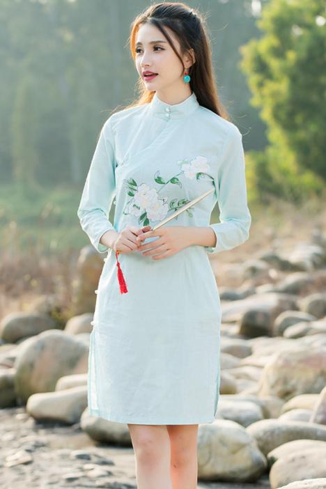 旗袍连衣裙,复古文艺范,优雅气质,斜襟,海棠花