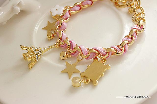 埃菲尔铁塔星星花朵桃心扑克牌皮绳水晶
