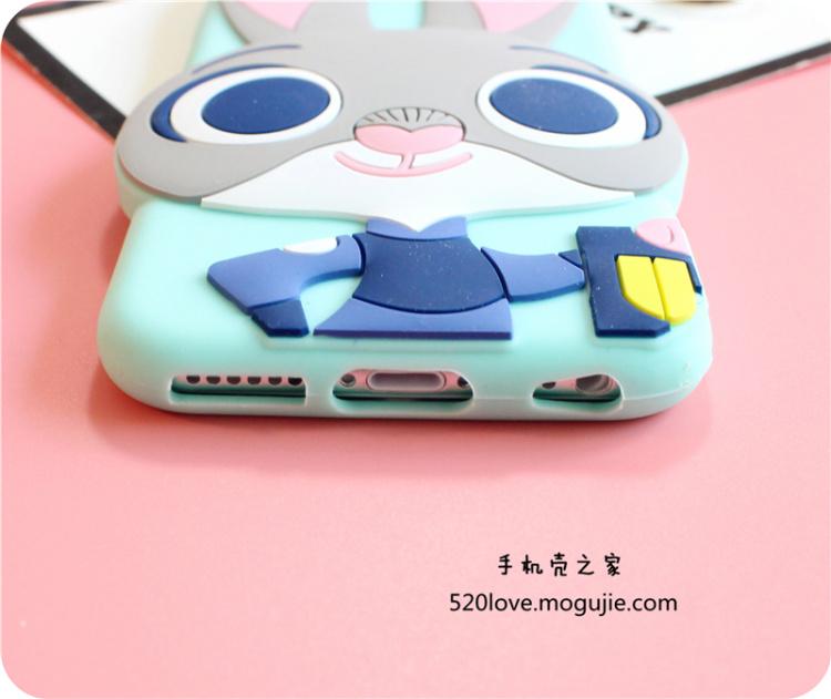 【iphone5s/6s/6p立体硅胶防摔卡通疯狂动物城保护