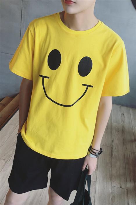 脊椎 潮男简约原创设计宽松笑脸图案短袖t恤衫男上衣短袖
