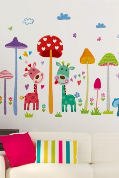 蘑菇森林墙贴画,可移除墙贴,墙贴,幼儿园装饰,卡通儿童房