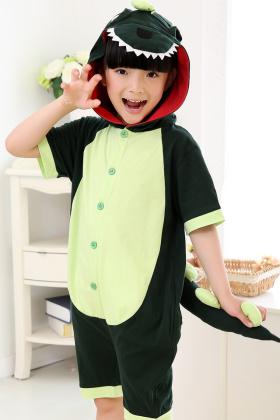 春短袖动物宝宝卡通连体睡衣儿童夏薄纯棉恐龙猫家居