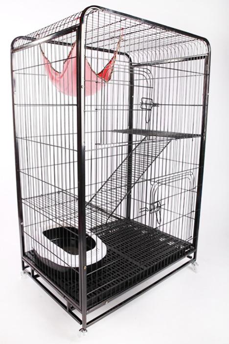 包邮猫笼子可折叠猫笼猫咪豪华别墅 赠南瓜窝吊床双碗猫笼猫窝